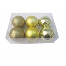 Золотистые новогодние шарики Микс