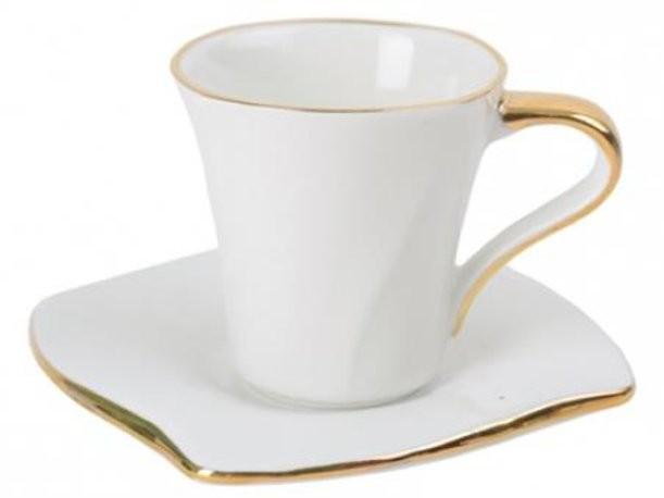 Чайная чашка с блюдцем с золотой каймой