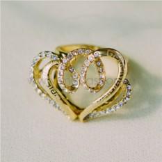 Кольцо с циркониями «Влюбленное сердце»