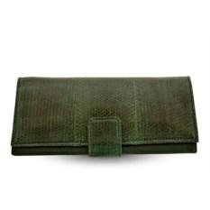 Зеленое женское портмоне из кожи морской змеи