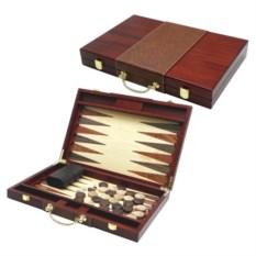 Нарды в виде дипломата с ручкой (цвет: коричневый)