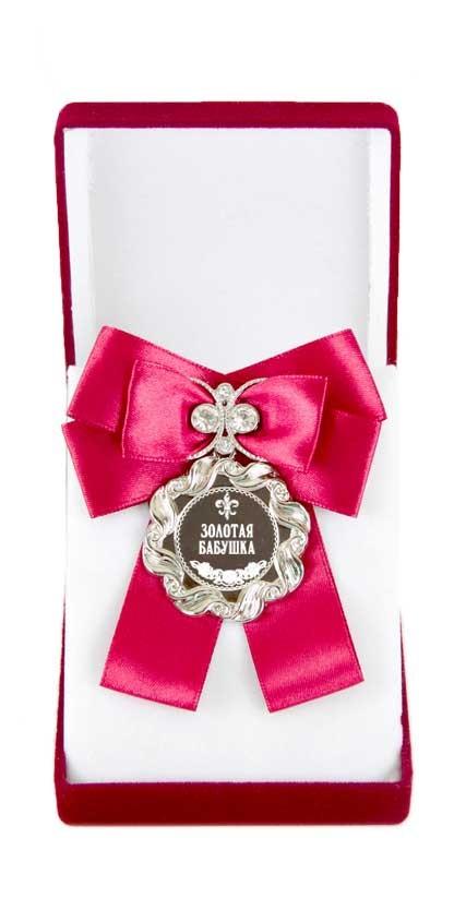 Медаль с большим красным бантом Золотая бабушка