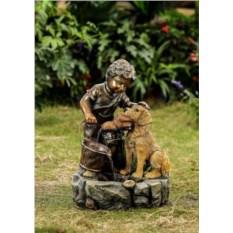 Садовый декоративный фонтан Мальчик и собака