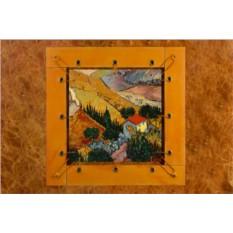 Картина из кожи Пейзаж с домом и пахарем Ван Гог
