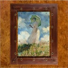 Картина из кожи Дама с зонтиком Моне