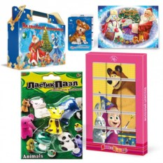 Новогодний подарочный набор с пазлами «Веселый зоопарк»