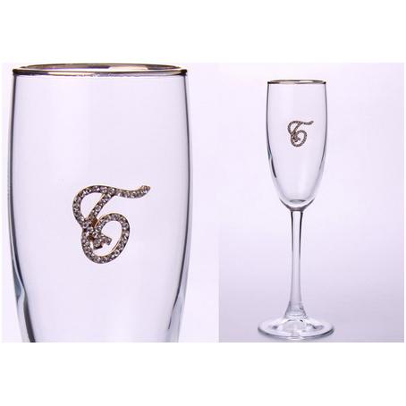 Бокал для шампанского «Б» с золотой каймой