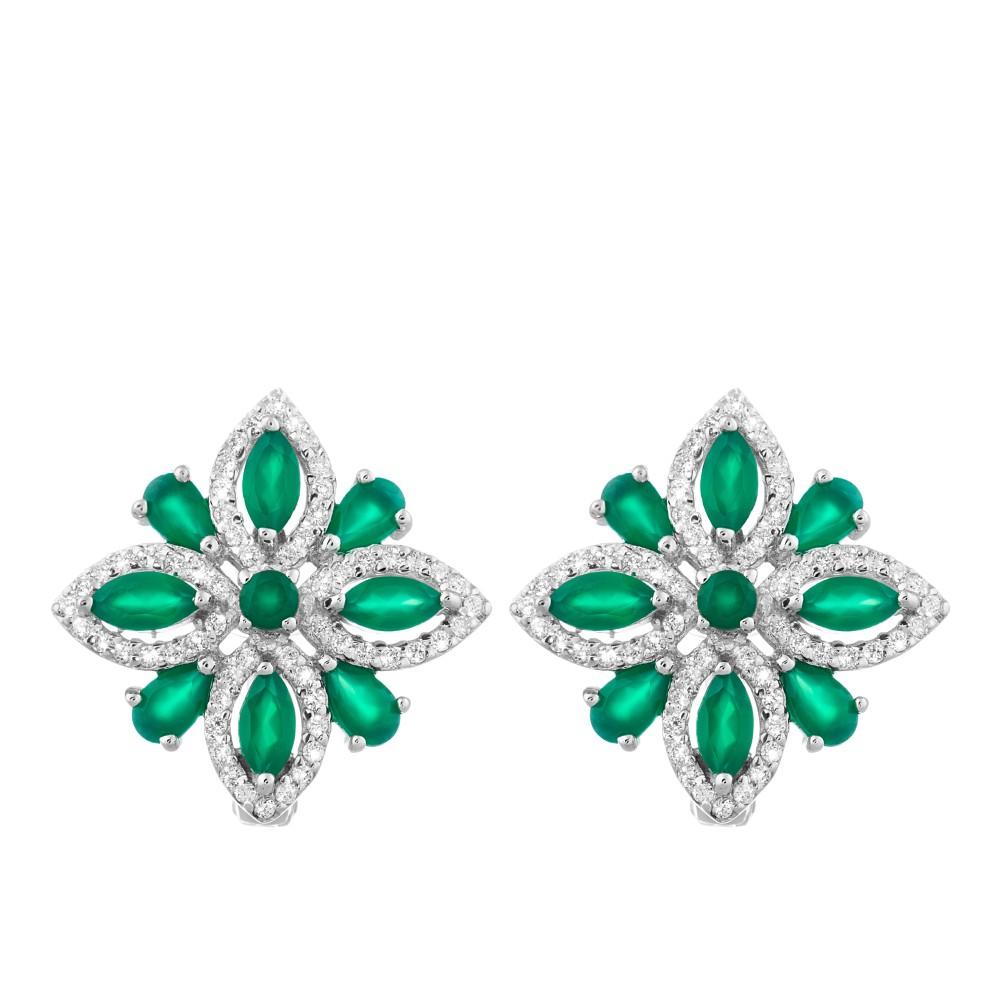 Красивые серебряные серьги с зелёным агатом и цирконами