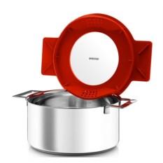Красная кастрюля с крышкой-фильтром Gravity