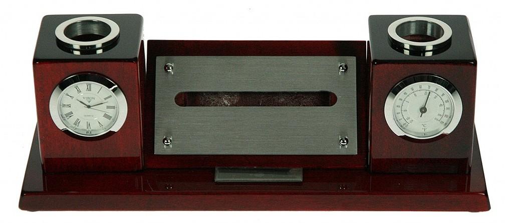 Настольный набор с часами и подставками для ручкек VIRON