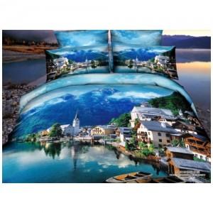 Постельное белье 3D «Городок на озере», двуспальное
