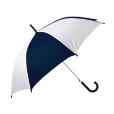 Бело-синий полуавтоматический зонт-трость