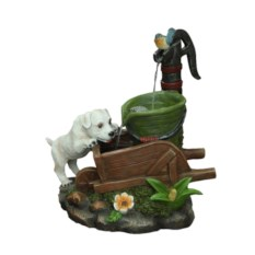 Интерьерный декоративный фонтан Собачка у колонки