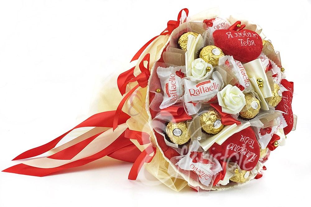 Букет Микс-23 из конфет с сердцами