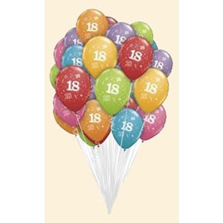 Связка из шаров с рисунком «18 лет»