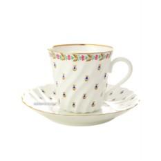 Фарфоровая кофейная чашка с блюдцем Голубые ягодки