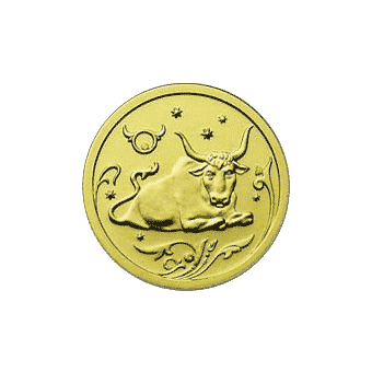 Монета «Телец», 25 рублей, Золото