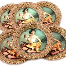 Набор из 6 тарелок Девушка на пикнике