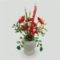 Сказочный аленький цветочек из камней-самоцветов и бисера