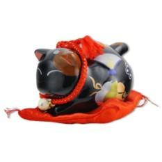 Чёрный кот-копилка Манеки-неко Удача и защита от зла!