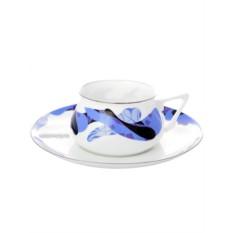 Фарфоровая чайная чашка с блюдцем Карамель синяя