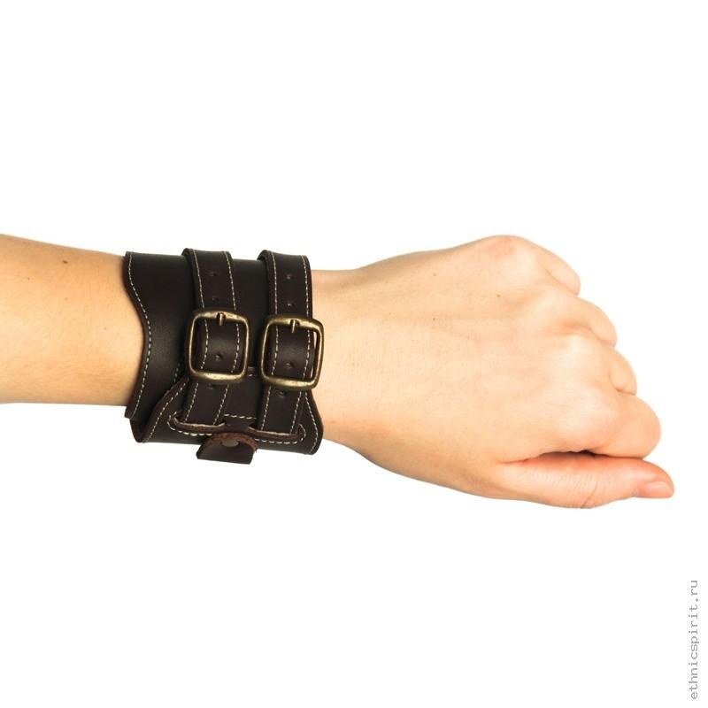Коричневый браслет- напульсник под часы