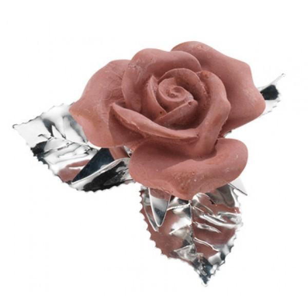 Роза с листьями Арома, розовая