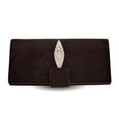 Коричневое портмоне из кожи ската