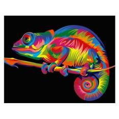 Картина по номерам «Радужный хамелеон» (мини-раскраска)