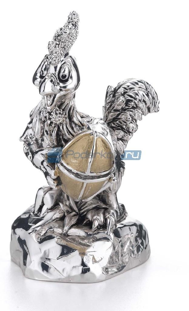 Статуэтка с посеребрением Петух с золотым яйцом