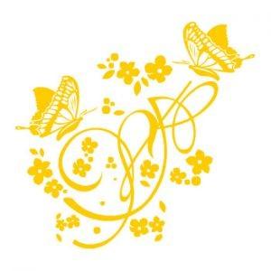 Стикер настенный, желтый Бабочки и узор