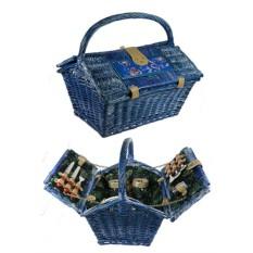 Набор для пикника на 2 персоны в синей корзине