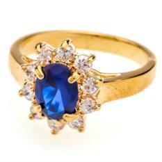 Позолоченное кольцо с синим цирконом Классик