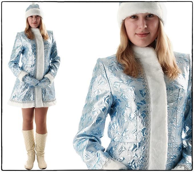 Костюм Снегурочка мини, приталенная  (парча серебро/голубая)