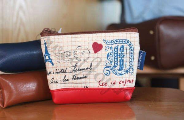Кошелек для мелочи Europe Vintage Stamps, красный