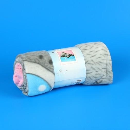 Плед  розово-голубой с мишкой