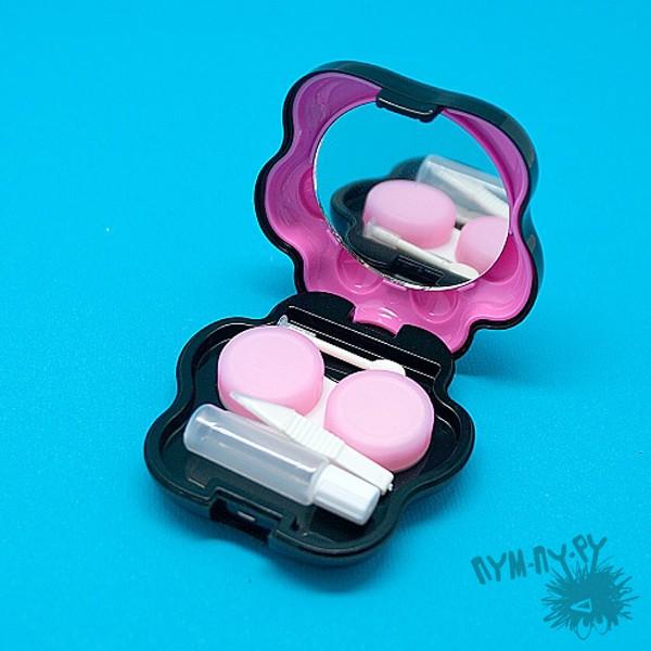 Черный с розовым контейнер для контактных линз Лапа
