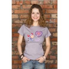 Серая женская именная футболка Космос