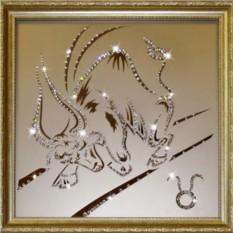 Картина с кристаллами Swarovski Телец 35х35 см
