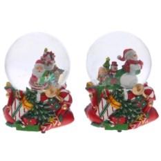 Декоративная фигурка в шаре с музыкой Санта и снеговик