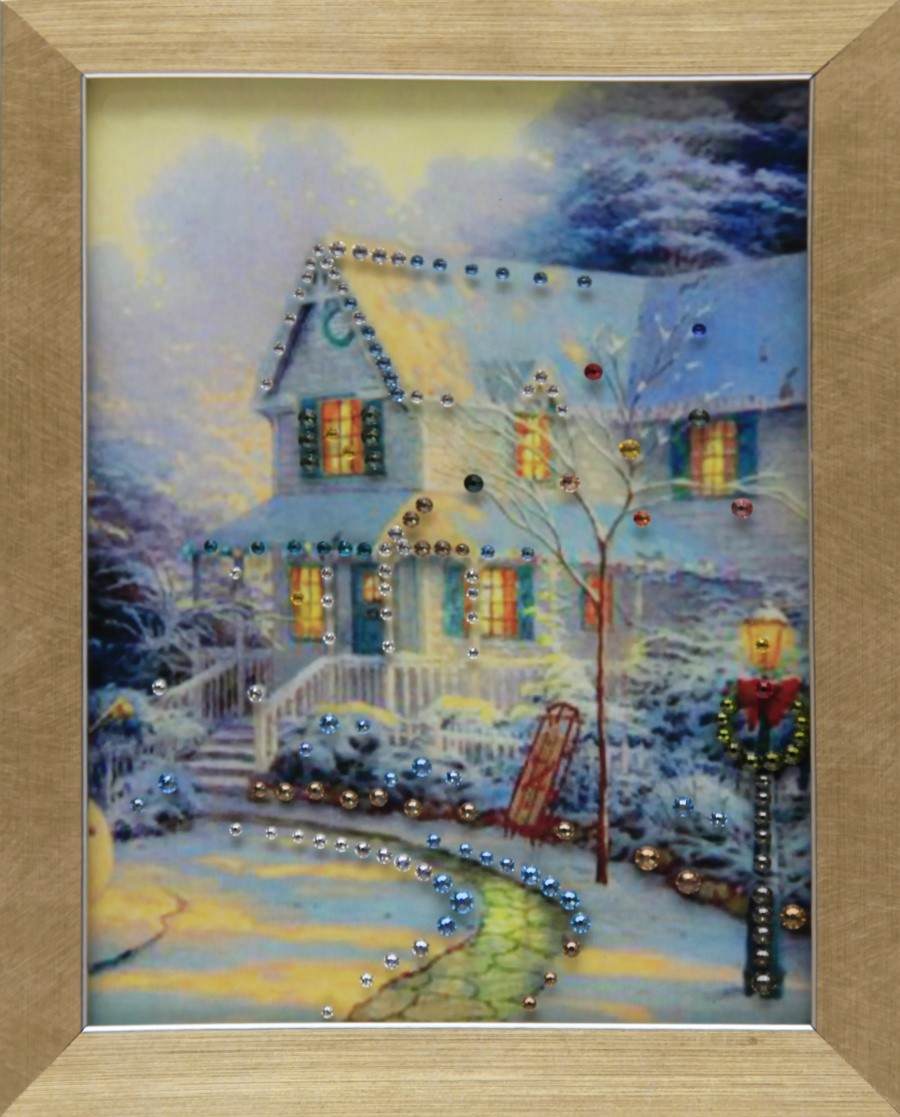 Картина с кристаллами Сваровски Канун Рождества