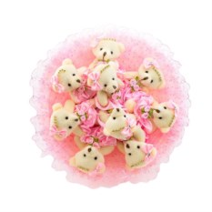 Букет с медвежатами Зефирки розового цвета