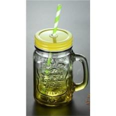 Желтая кружка-банка с трубочкой для напитков