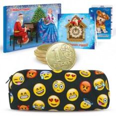 Новогодний подарочный набор с пеналом Смайлики