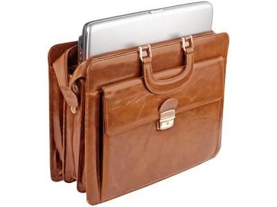 Кожаный портфель с отделением для ноутбука и внешним карманом