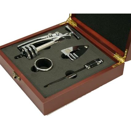 Винный набор:штопор, термометр, кольцо, зажим, футляр (# 9094)