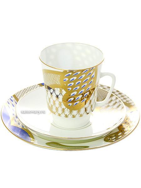 Кофейный комплект из чашки и двух блюдцев Лазурный мотив