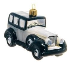 Ёлочная игрушка Серый ретро-автомобиль