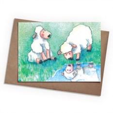 Поздравительная открытка Овечки на лугу