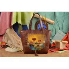 Коричневая сумка-шопер Осенние цветы Elole Design